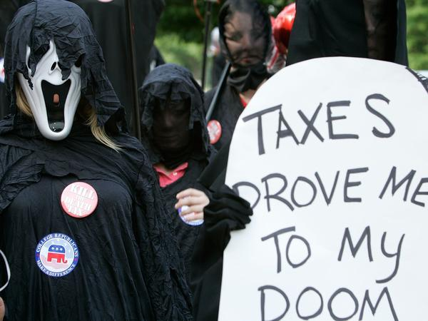 Members of the College Republican National Committee demonstrated against the estate tax in Washington in 2006. The tax was eliminated in 2010 but was reinstated a year later.