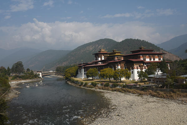 "Bhutan's Punakha Dzong, a fortress built in the 17th century, sits in the pristine Punakha Valley. The environment is central to Bhutan's ""gross national happiness"" index. Conservationists believe the country, roughly the size of Switzerland, has the <a href=""https://www.worldwildlife.org/projects/bhutan-committed-to-conservation"">highest proportion</a> of protected land in Asia."