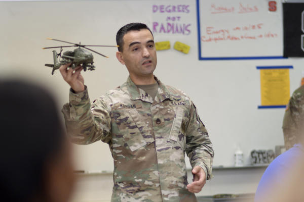 Army Staff Sgt. Bilal Kordab talks about military careers with students at Athens Drive High School in Raleigh, N.C.