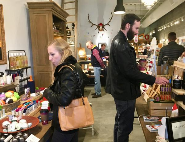 Specialty shops in Downtown Overland Park, like The General Store & Co. are enjoying a strong Christmas season, despite declining sales tax revenue in Johnson County.