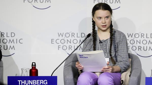 Climate activist Greta Thunberg delivers a speech at the World Economic Forum in Davos, Switzerland.