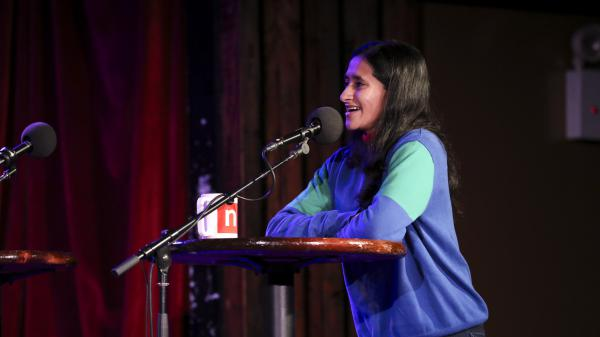 Aparna Nancherla joins in a round of Fact Bag on <em>Ask Me Another</em> at the Bell House in Brooklyn, New York.