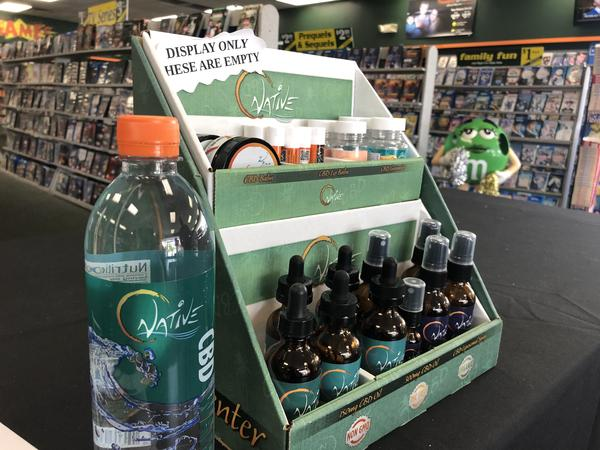 A display shows some of the CBD products for sale at Family Video.