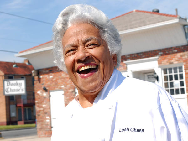 Chef Leah Chase stands outside her famous Creole restaurant, Dooky Chase's, in March 2007. Two years earlier it was flooded out during Hurricane Katrina.