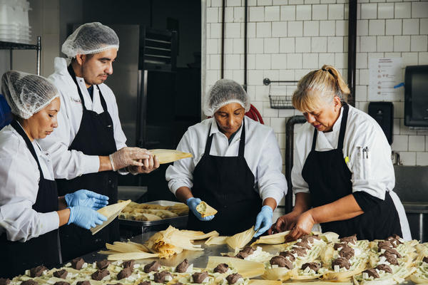 From left: Gloria Amaya, José Amaya, Silvia Gómez, and Alicia Villanueva, the founder of Tamales Los Mayas. A graduate of La Cocina's program for food entrepreneurs, Villanueva now provides catering to scores of Bay Area companies each month, and her tamales are sold in Northern California Whole Foods stores.