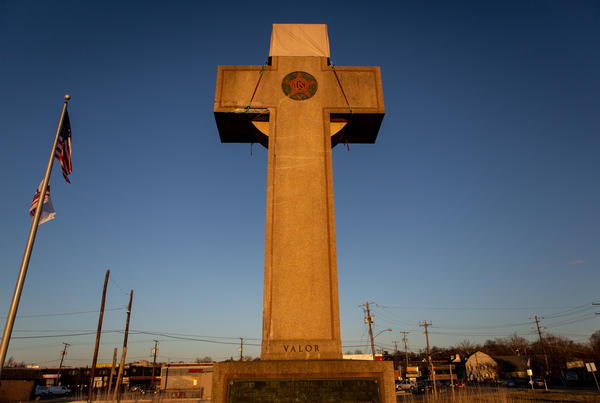 A World War I memorial cross sits in Bladensburg, Md., just outside Washington, D.C. The federal government asked the Supreme Court to rule in favor of the cross.