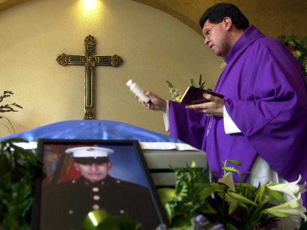 The funeral of Lance Cpl. Jose Antonio Gutierrez in 2003. Gutierrez was born in Guatemala and served in the Marine Corps until he was killed in Iraq — one of a number of immigrants in the military.