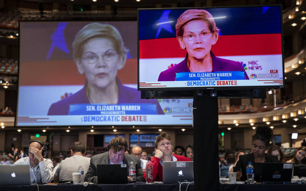 Sen. Elizabeth Warren of Massachusetts controlled the Democratic presidential primary debate early with a progressive policy pitch.