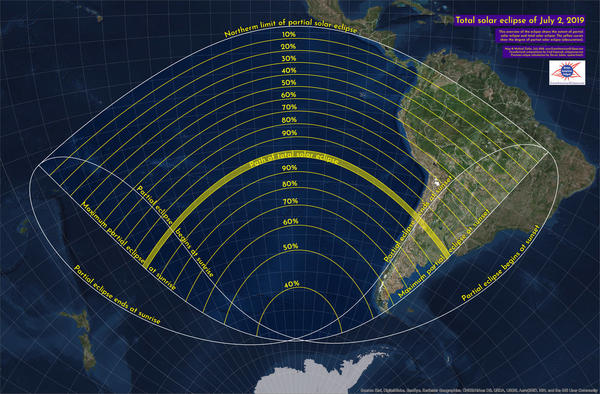 This graphic shows the path of Tuesday's solar eclipse and how much you can see from different places. The yellow band represents the path of totality, or the areas in which a total eclipse will be visible. Other areas will be able to see a partial solar eclipse.