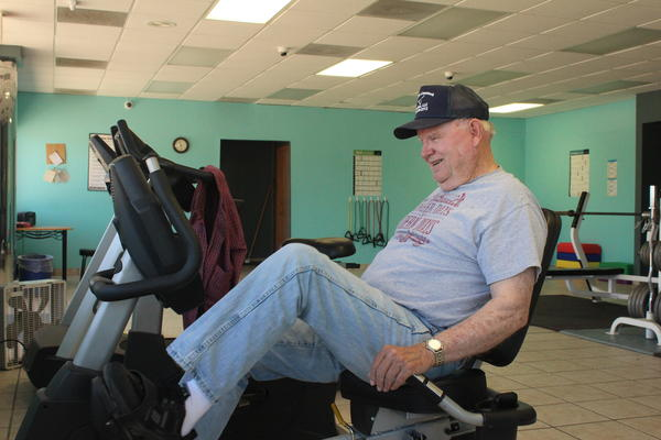 Elmer Drennan works out at 54 Fitness in Moran, Kansas.