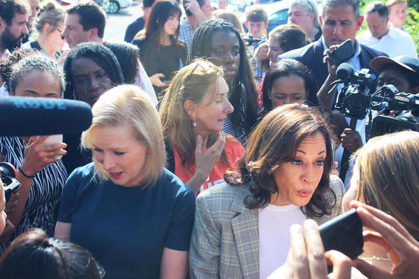 Democratic senators Kamala Harris and Kirsten Gillibrand try to get into the Homestead shelter for unaccompanied migrants on Friday, June 28, 2019.