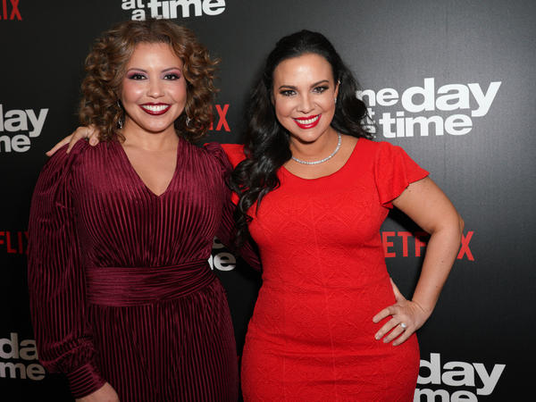 Justina Machado (left) and Gloria Calderón Kellett of <em>One Day at a Time </em>attend the show's Season 3 premiere. Pop TV announced it picked up the show for a fourth season after it was canceled by Netflix.