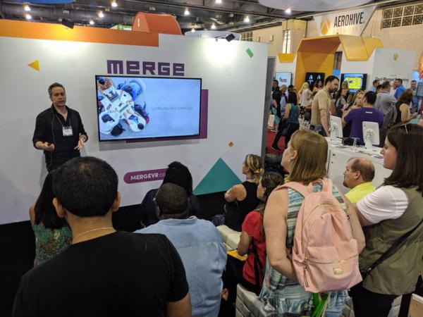 Merge presenting its products at education technology conference. The company says it is only investing in education content.