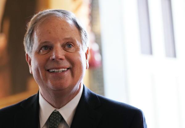U.S. Sen. Doug Jones (D-AL) during a meeting with Senate Minority Leader Sen. Chuck Schumer (D-NY) at the U.S. Capitol.
