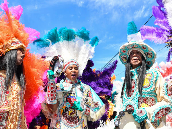 Members of the Golden Eagles Mardi Gras Indian tribe. A song about about this tradition is part of NPR's <em>American Anthem</em> series.