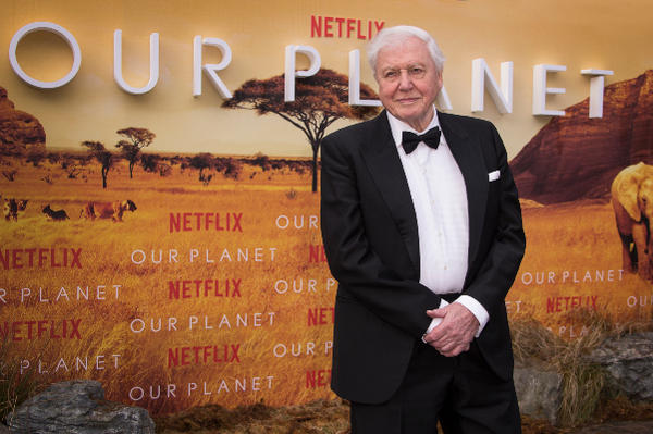 Sir David Attenborough poses for photographers upon arrival for the premiere of a new series of Our Planet, at the Natural History Museum in central London, Thursday, April 4, 2019.