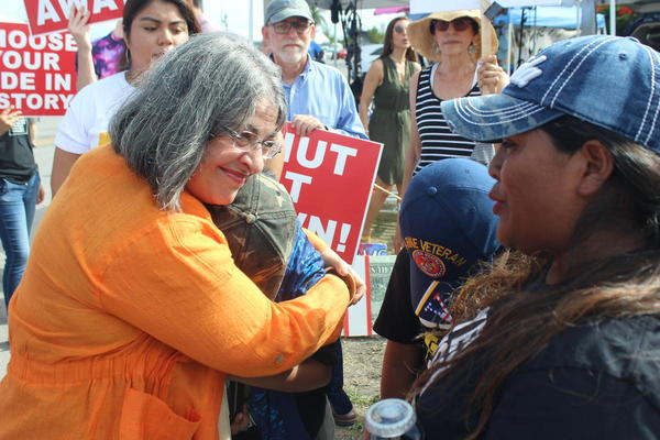 Miami-Dade Commissioner Daniella Levine Cava, a candidate for county mayor, hugs children from the Homestead Latinx organization WeCount outside the Homestead Detention Center on Friday, June 28, 2019.