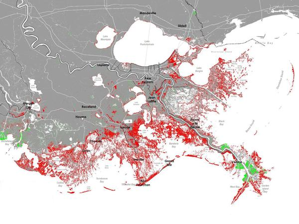 Former Water Institute scientist, Ehab Meselhe, helped create the model that was used to make these CPRA maps of projected coastal land loss.