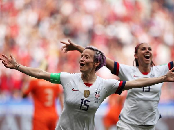 The United States' Megan Rapinoe celebrates after scoring the opening goal from the penalty spot during the Women's World Cup final soccer match between the U.S. and the Netherlands at the Stade de Lyon in Décines, outside Lyon, France, on Sunday. The U.S. won 2-0.