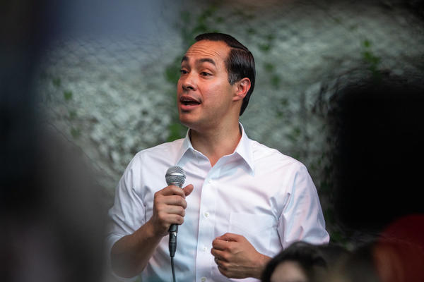 Julian Castro addresses the crowd at a rally at Cheer Up Charlies last month.
