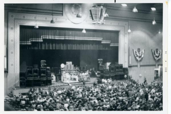 The State Armory stage dessed for a rock concert in 1974