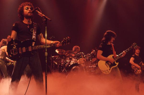 Blue Oyster Cult performs at the Illinois State Armory on January 7, 1978.