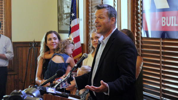 Former Kansas Secretary of State Kris Kobach was joined by his family when he announced his run for the U.S. Senate on Monday.