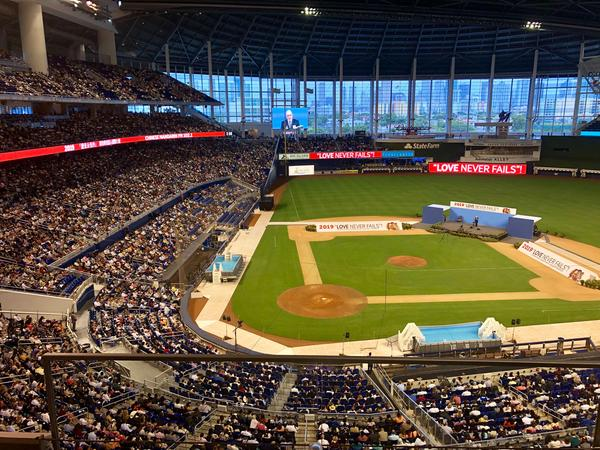 Marlins Park is more full than usual on the first day of the international 'Love Never Fails!' Jehovah's Witness convention that happens every five years..