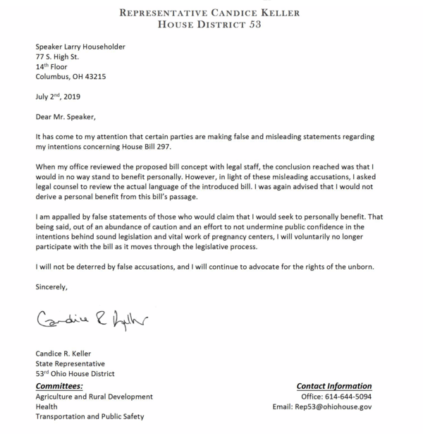 Letter from Keller to House Speaker Larry Householder last week