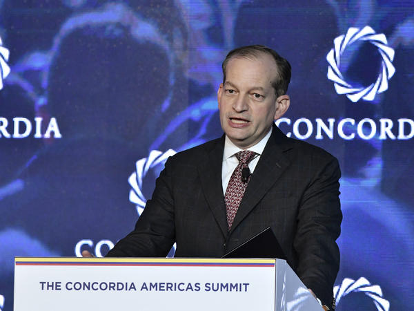 Secretary of Labor Alexander Acosta speaks at an event in Bogotá, Colombia, in May. Acosta is coming under criticism for his actions in a sex trafficking case involving Jeffrey Epstein when Acosta was a U.S. attorney in Florida.