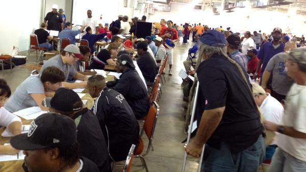 Volunteers assisted nearly 300 veterans at Jacksonville's Stand Down event in 2014.