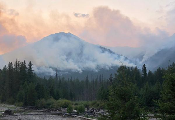 The Howe Ridge Fire in Glacier National Park on August 21, 2018