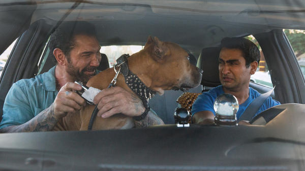 Somebody's Uber rating is taking a hit. L to R: Vic (Dave Bautista), Stroker (Pico) and Stu (Kumail Nanjiani) in <em>Stuber.</em>