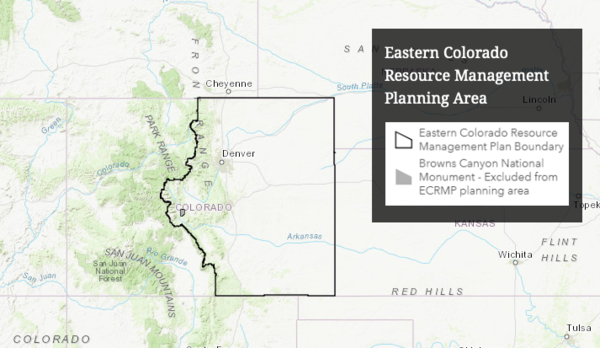 A map of the Eastern Colorado RMP planning area.