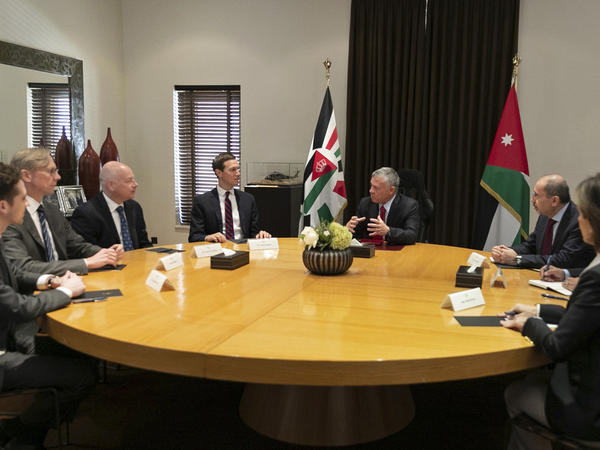 Presidential advisers Jared Kushner (center left) and Jason Greenblatt (third from left) meet with Jordan's King Abdullah II (center right) and his advisers in Amman, Jordan, on May 29.