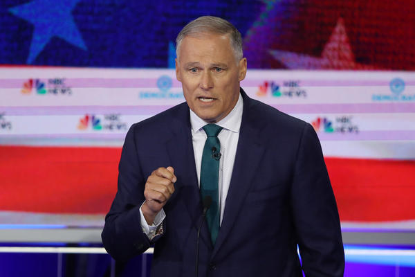 Washington Govenor Jay Inslee speaks during the first night of the Democratic presidential debate on June 26.