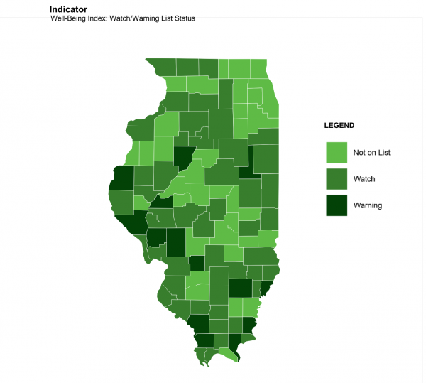 Of Illinois' 102 counties, 67 appear on a poverty watch list formed by the Heartland Alliance