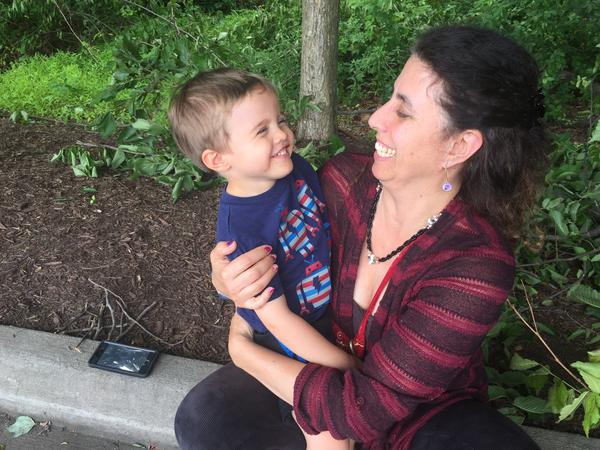 Leora Brown with her son Jackson. She had deliberated whether to vaccinate her children.