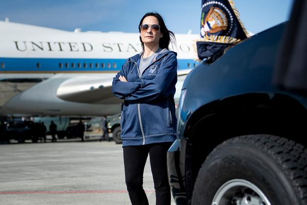 White House press secretary Stephanie Grisham waits as Air Force One is refuelled at Elmendorf Air Force Base while travelling to Japan June 26, 2019, in Anchorage, Alaska.