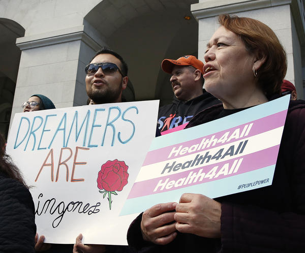Demonstrators rallied in Sacramento in May for Medi-Cal expansion to undocumented Californians. When the state's budget was finalized, only young adults up to age 26 were authorized to be included in the expansion. Gov. Gavin Newsom says that's an important first step.