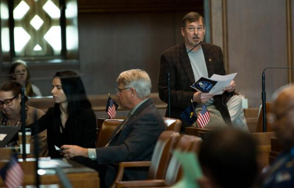 <p>Republican Oregon state Sen. Brian Boquist, R-Dallas, speaks in support of a resolution honoring those who fought and died in the Modoc War in the Oregon Senate chambers at the Oregon Capitol in Salem, Ore., Tuesday, April 2, 2019.</p>