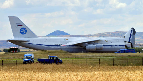 A Russian cargo plane carrying parts of Russia's S-400 missile defense system landed at a military air base near Ankara, Turkey, on Friday.