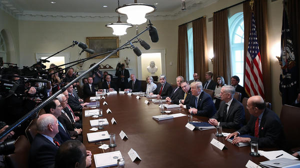 President Trump speaks during a cabinet meeting at the White House on June 21, 2018. Just over a year later, he's had turnover in the departments of Justice, Interior, Homeland Security, Defense, Labor, and a number of lower agencies.