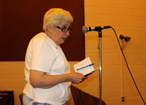 Eighty-one-year-old Rose Nyman speaks about health concerns at the EPA Office of Inspector General's listening session at the Fred Moodry Intermediate School in Anaconda. July 10, 2019.