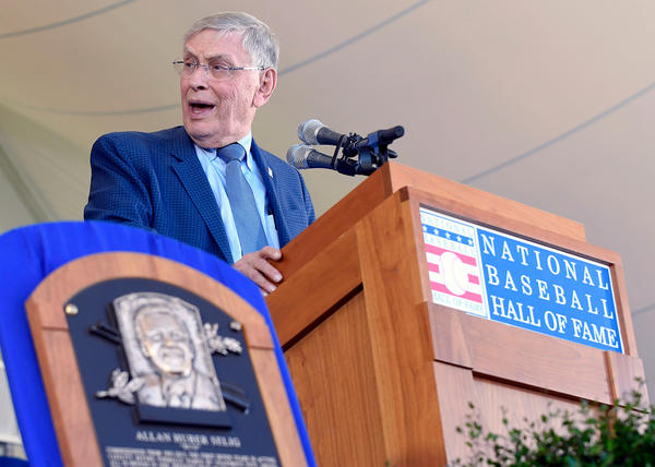 National Baseball Hall of Fame inductee Bud Selig speaks during an induction ceremony at the Clark Sports Center, Sunday, July 30, 2017, in Cooperstown, N.Y. (Hans Pennink/AP Photo)