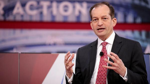U.S. Secretary of Labor Alexander Acosta speaking at the 2018 Conservative Political Action Conference (CPAC) in National Harbor, Maryland.