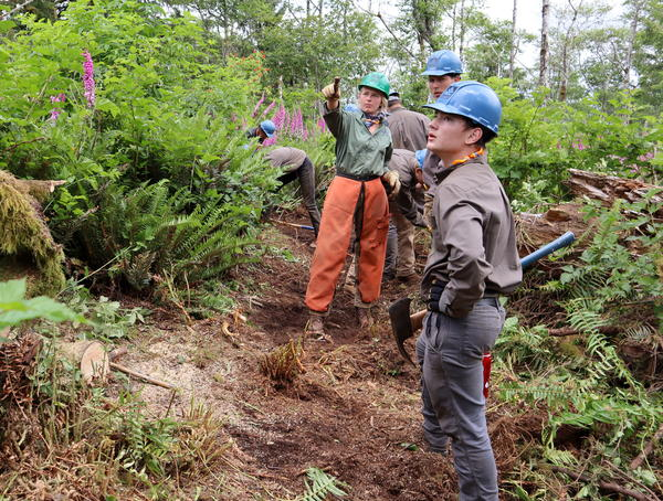 A Northwest Youth Corps trail-building crew at work in June on the south side of Neahkahnie Mountain where there is a gap in the Oregon Coast Trail.