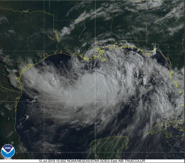 Tropical Storm Barry shown by satellite on Friday.
