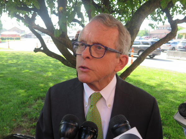 Gov. Mike DeWine talks to reporters after a meeting of the Ohio Expositions Commission.