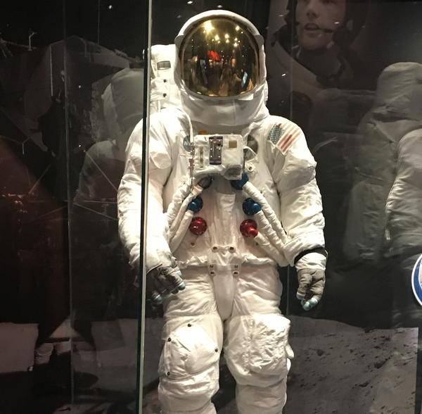 The Cincinnati Museum Center has a replica of Armstrong's Apollo 11 suit on display.